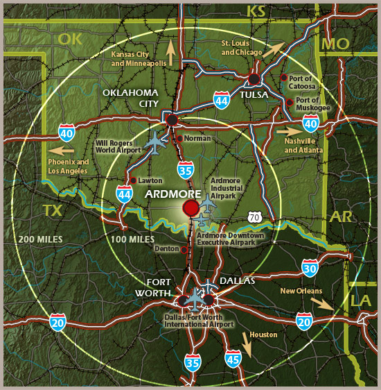 Map of the Ardmore, OK Region Showing Major Highways Nearby